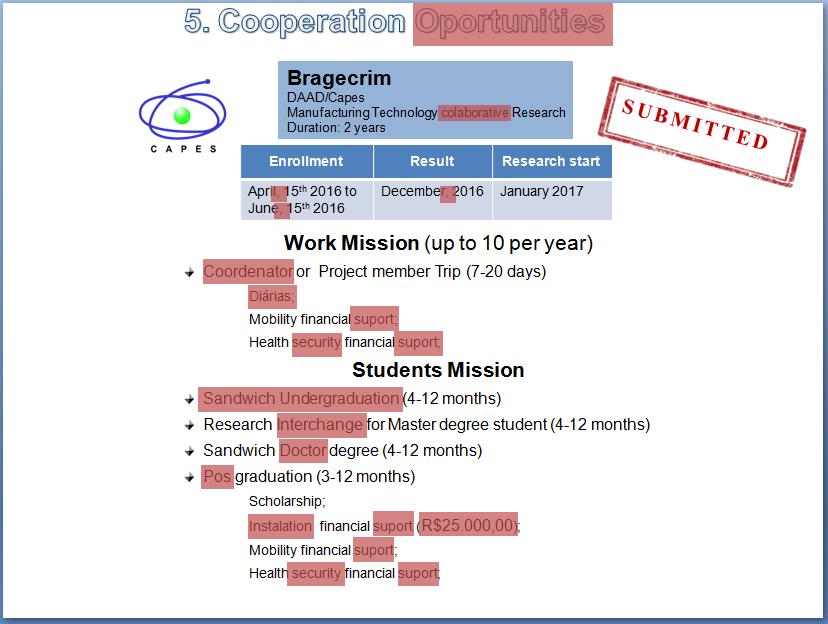 O mesmo slide de PowerPoint com erros destacados em vermelho